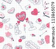 Valentine doodles seamless pattern. Vector illustration. - stock vector