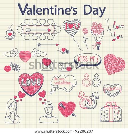 Valentine doodles set. Vector illustration. - stock vector