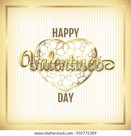 Valentine elegant golden frame with hearts and lettering (vector)