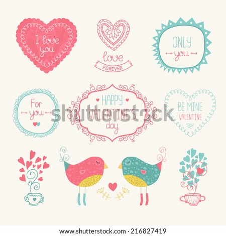 Valentine elements for design card. With bird, heart, label, border and other decorative elements. Vector illustration isolated on white background with hand drawn letters. - stock vector