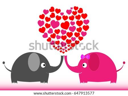 valentine elephant illustration heart shape love abstract animal art - Elephant Valentine