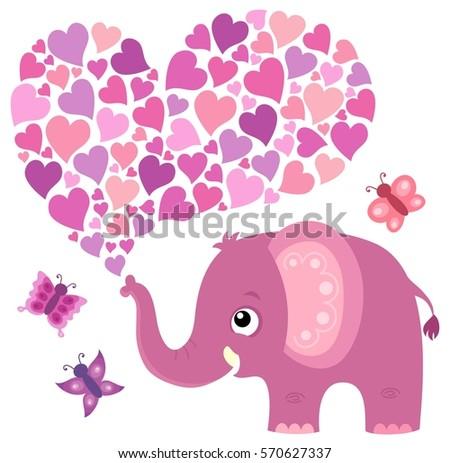 Valentine Elephant Theme Image 5   Eps10 Vector Illustration.