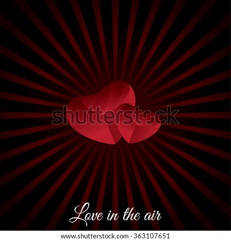 valentine emblem illustration, valentines day simple postcard design, concept of romance, love, invitation, greeting, dating card isolated on dark red background image. Love in the air phrase. - stock vector