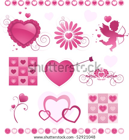 Valentine'es day icons set - stock vector