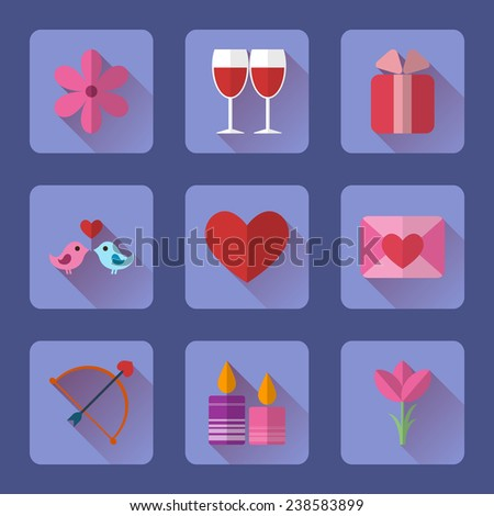 Valentine flat blue rectangle icons set for mobile or web site applications  Shutterstock