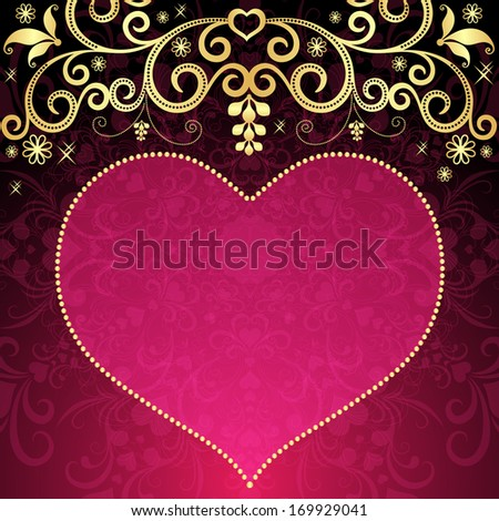 Valentine floral frame with big translucent pink heart and gold vintage pattern (vector eps 10) - stock vector