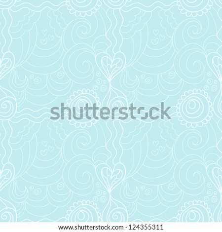 Valentine floral seamless retro pattern with hand drawn flowers and waves - stock vector