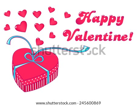 Valentine gift box with hearts and text