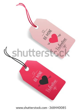 Valentine Gift Tags.Vector illustration - stock vector