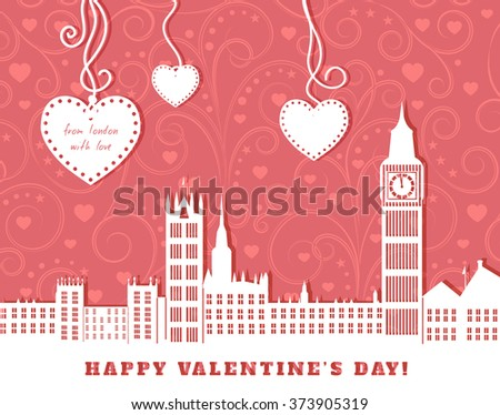 valentine greeting card, London with big ben,  pink background with swirl vintage ornament,  three hearts hanging on tapes, cut paper vector illustration - stock vector