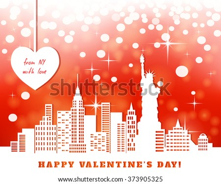 valentine greeting card, New York, downtown, statue of liberty; red bright luminous background,  heart hanging on tapes, cut paper, vector illustration - stock vector