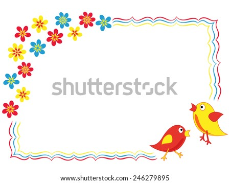 Valentine greeting card with two colorful birds and flowers, hand drawing vector illustration - stock vector