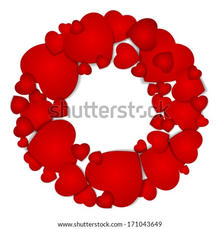 Valentine greeting card with wreath.