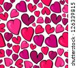 Valentine hand drawn love heart seamless pattern. Vector illustration layered for easy manipulation and custom coloring. - stock vector