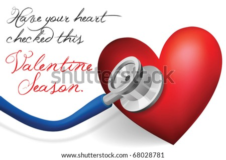 valentine heart check concept vector - conceptual valentine heart done as vector, representing the need for doctor checkup - stock vector