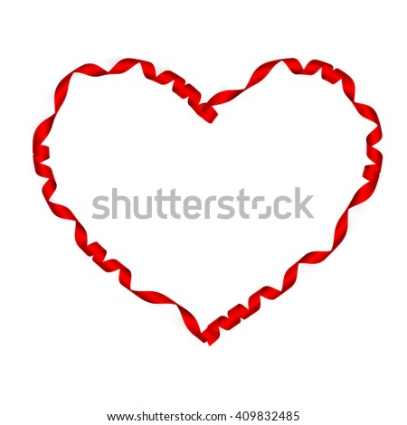 Valentine Heart. Elegant Red satin gift Ribbon. Isolated on white. Border design. Red silk ribbon curves Frame. EPS 10 vector file included - stock vector