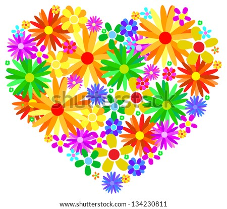Valentine Heart Made From Colored Spring Flowers - stock vector