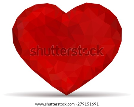 Valentine heart made from triangles - stock vector