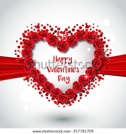 Valentine heart made of red roses, vector greeting card  - stock vector