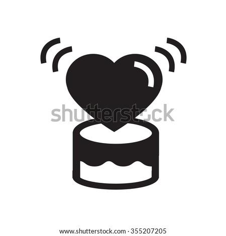 valentine Heart  on  gift box  icon - stock vector