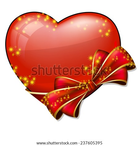 Valentine heart with bow - stock vector
