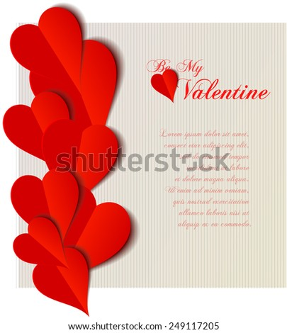 Valentine  hearts cutout design card. Vector illustration - stock vector