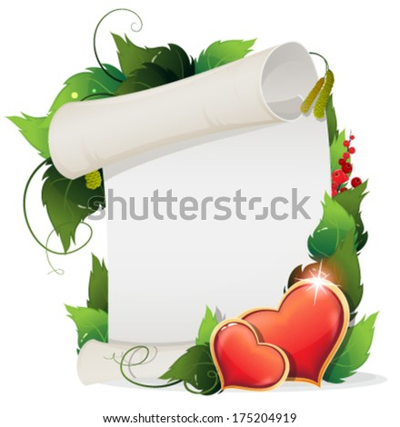 Valentine hearts, leaves and paper scroll on a white background - stock vector