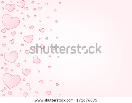 Valentine hearts letter card vector illustration background with copyspace right - stock vector