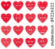 Valentine hearts smilies, symbolising various love emotions, set. Vector - stock vector