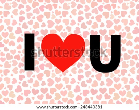 valentine I Love You Vector lettering with red hearts on background - stock vector