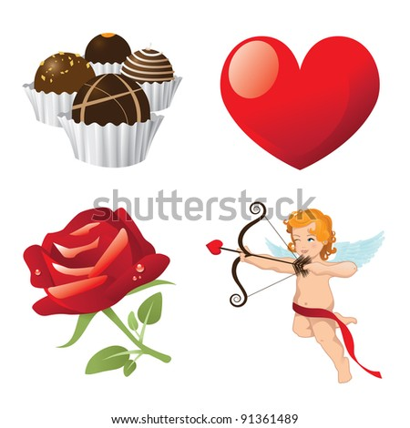 Valentine Icons EPS 8 vector, grouped for easy editing. - stock vector
