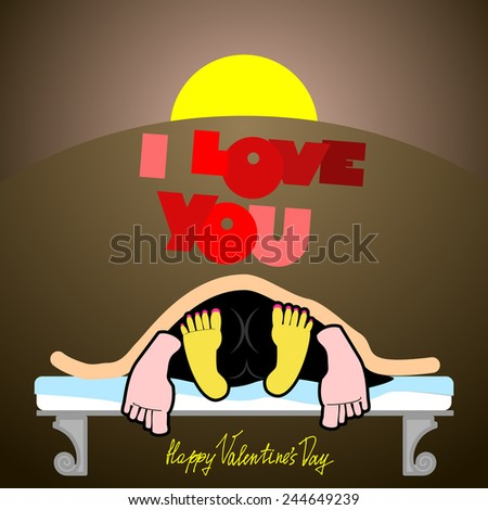 Valentine, joyful unusual Valentine's Day Card, a funny, dark background, sex on a bed, love and relationships between people, I love you. Man and woman On the bed in the dark. valentine funny - stock vector
