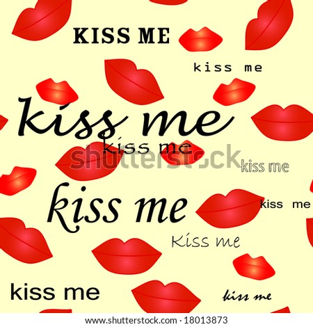 Valentine - kiss seamless vector wallpaper - stock vector