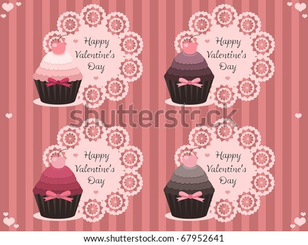valentine labels with cupcakes - stock vector