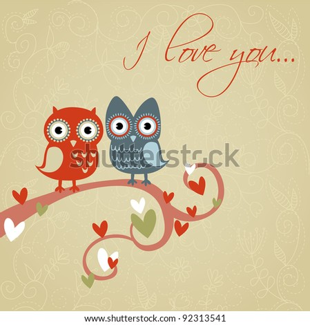 Valentine love card with cute romantic owls and hearts - stock vector