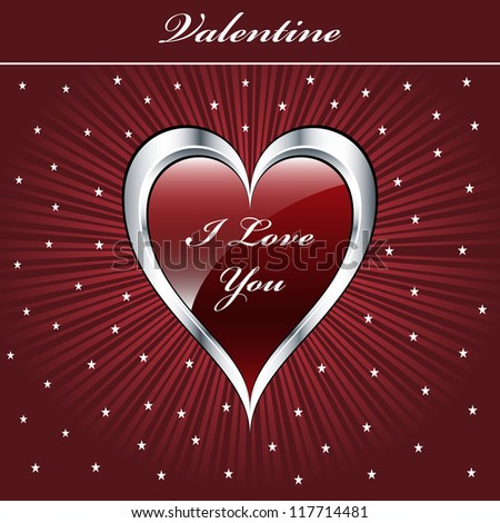 Valentine love heart in a dark red and silver on sunburst background with stars. Copyspace for text. Raster also available. - stock vector