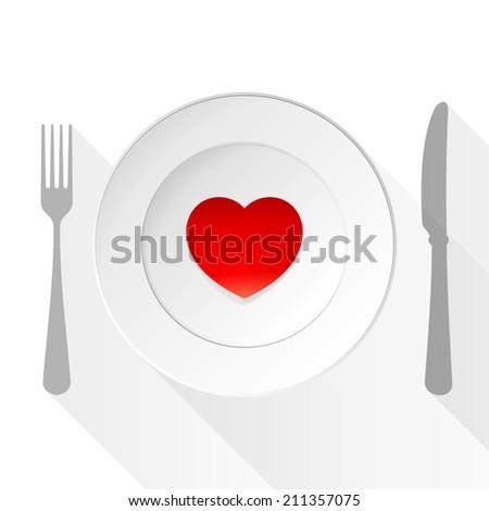 Valentine Love Plate - stock vector