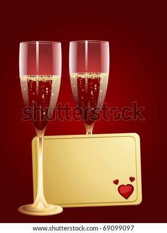 Valentine message tag and two glasses of champagne on a red background - stock vector