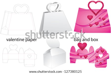 valentine paper bag and box - stock vector