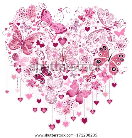 Valentine pink big heart with butterflies isolated on white (vector) - stock vector
