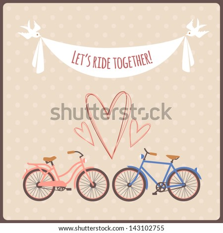 Valentine postcard with bicycles, hearts and banner carried by birds. - stock vector