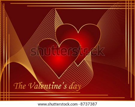 Valentine postcard with red and gold hearts