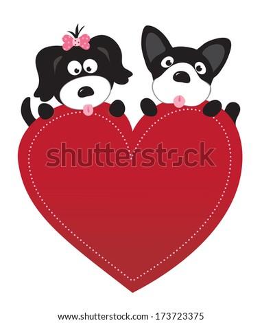 Valentine puppies vector - stock vector