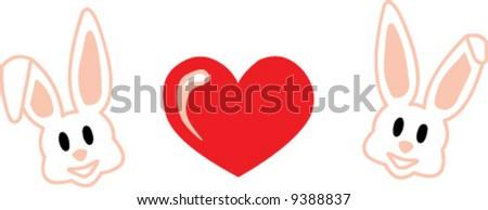 Valentine rabbits - stock vector
