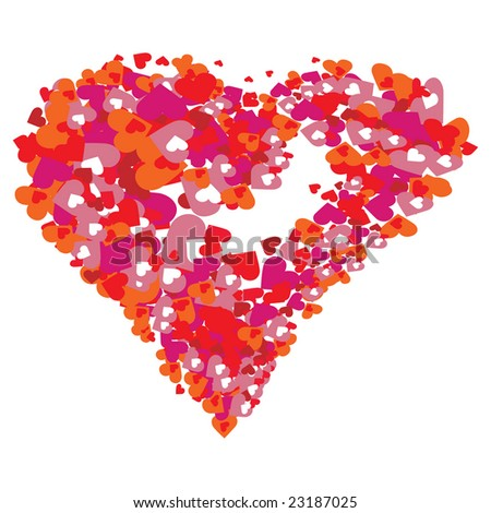 Valentine red Heart from many hearts. - stock vector