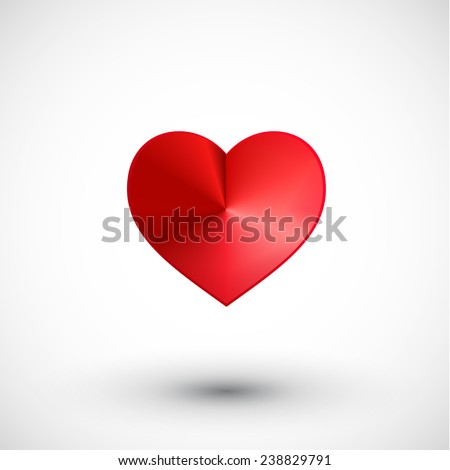 Valentine red heart shiny 3d abstract romance design - stock vector