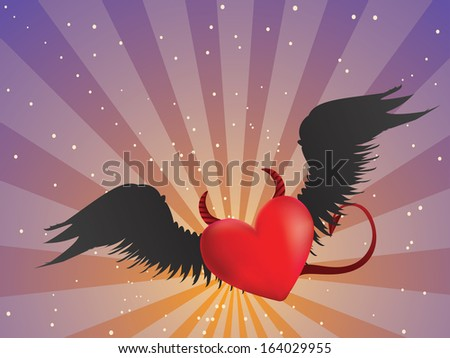 Valentine red heart with black angel wings on background with rays. - stock vector