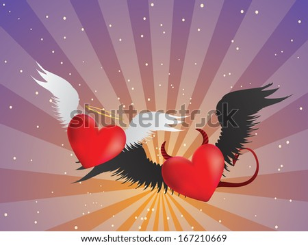 Valentine red hearts with angel wings on background with rays. - stock vector