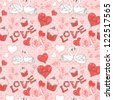 Valentine romantic retro seamless pattern with hearts and swans on a grunge background - stock vector