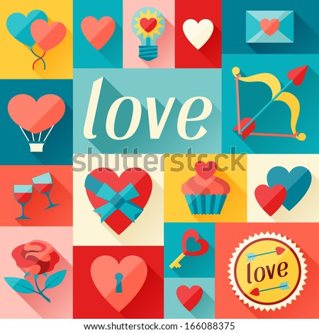 Valentine's and Wedding background in flat design style. - stock vector